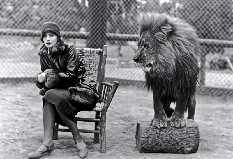 Greta Garbo and Lion