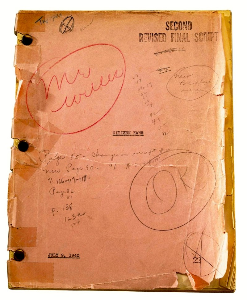 Orson Welles Citizen Kane shooting script
