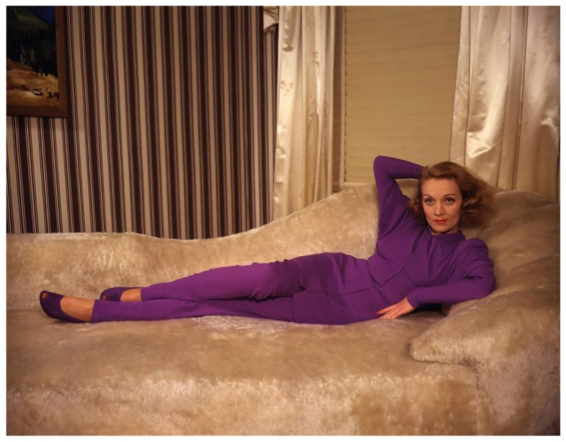 german-actress-marlene-dietrich-1901-1992-wearing-a-purple-trouser-suit-circa-1950-photo-by-silver-screen-collectionhulton-archivegetty-images