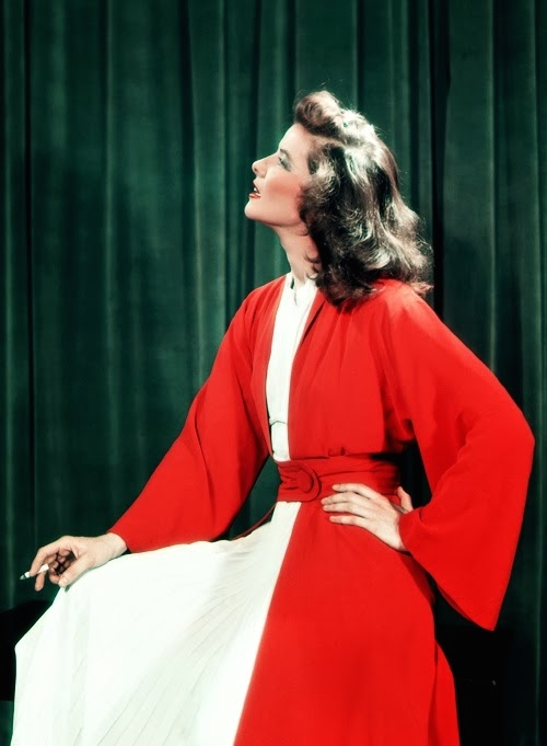 1939, Katharine Hepburn in wardrobe for the stage production of The Philadelphia Story