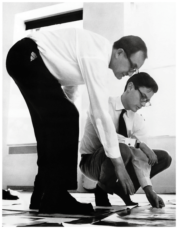 alexey-brodovitch-and-richard-avedon-arranging-the-sequence-of-pages-for-avedon_s-first-book-observations-in-avedon_s-58th-street-studio-new-york-city-1958-photograph-by-hiro-b