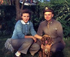 Photo from 1945 of bomber pilot Jim Maris, and his wife, Lucille, and dog, Blondie