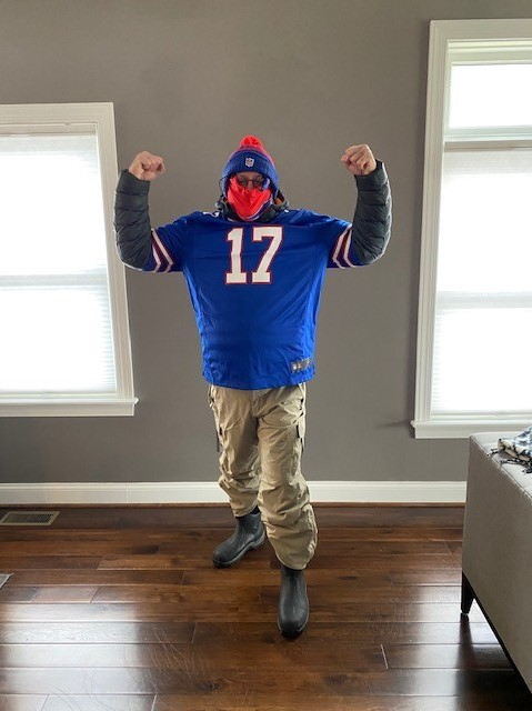 Attending Buffalo Bills Game During the Pandemic- Mitch in his 12th man  uniform!