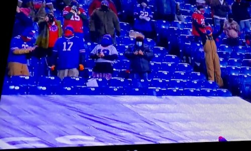 Attending Buffalo Bills Game During the Pandemic- photo of screen shot  it on tv!