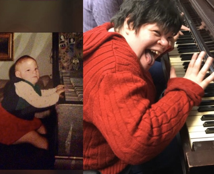 Jessica and the Joy of Music - Jessica playing the piano as a toddler and as an adult