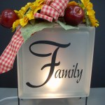 Fall Crafts – Krafty Block (Glass Block) with Sunflowers, Apples and Ribbon