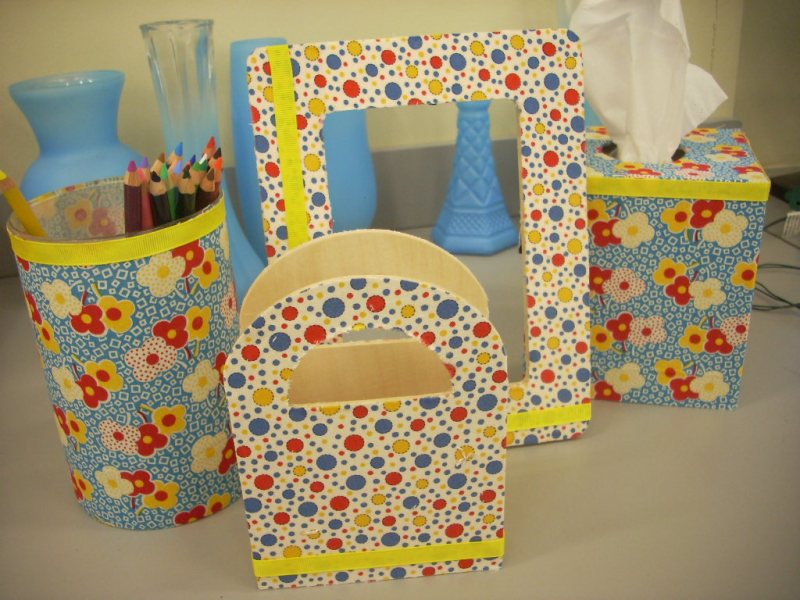 Desk Organizers with Mod Podge and Fabric