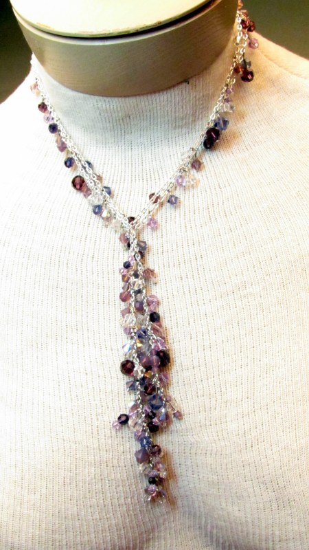 Easy to Make Jewelry – Chain and Crystal Lariat and Earrings