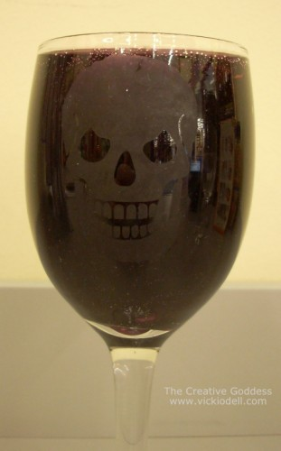 Halloween Crafts Etched Wine Glass With Gel Candle