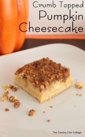 Crumb Topped Pumpkin Cheesecake Recipe