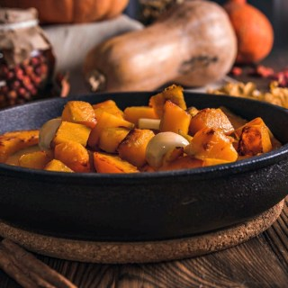 Stock Your Kitchen For Cold Weather - roasted pumpkin in cast iron