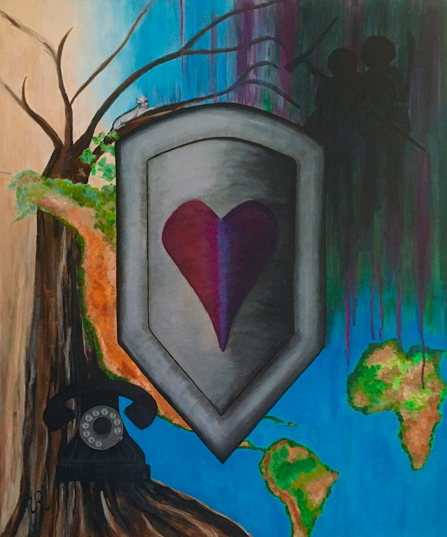 Image is a visual art painting. It is acrylic paint on canvas. In the center of the painting, there is a silver metal shield with a pink heart in the center of it. Actually, the heart has the colors of pink, blue, and purple; the colors representing bisexual people. Surrounding the shield, in the top right corner are silhouettes of gang members holding guns and machete, the bottom right of the painting shows the continent of Africa and South America with the central American countries barely being seen because the bottom of the shield covers them, and the western part of the United States is barely seen to the left of the shield. The bottom left of the painting is the trunk of the tree of life and a little way up on the trunk is an old style telephone. The telephone is black with black numbers and grey background for the dial. The phone has a handle that you pick up and put to your ear and mouth. On the upper left hand corner of the painting, the tree of life branches spread out. One of the branches follows the top lines of the shield and on that branch is a black and white cat with the face markings of a raccoon. The cat belongs to the two women told in the story. The cat's name is Lovelin. The colors represented on the background: the gang members' silhouettes are mostly black, their background is blurry dark green and dark purple as if they are in the jungle, the continents are green, light and dark browns indicating the terrain of the continents. The tree is lines of black, dark brown, gray, white, multi-colors showing shadows and depth.