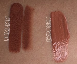 kylie-lip-kit-and-gloss-swatch pumpkin and exposed gloss and lip kit