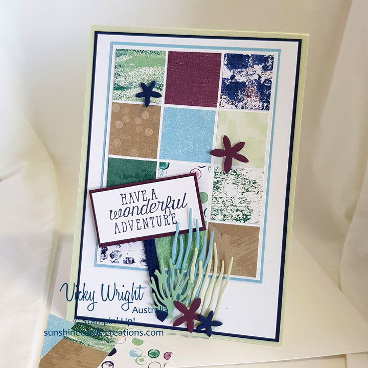 Sea of Textures, Under the Sea Framelits, Tranquil Textures DSP, Free Tutorial, Stampin' Up! #seaoftextures #tranquiltexturesdsp #undertheseaframelits #makeacradsendacard #loveitchopit #freetutorial #vickywright #stampinup