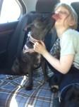 Tess giving Sally kisses