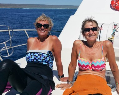 Sunning on the prow with Helen