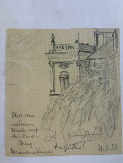 Grandfather drew this view form his desk in Prague Castle when he was bored and sent it to his friend