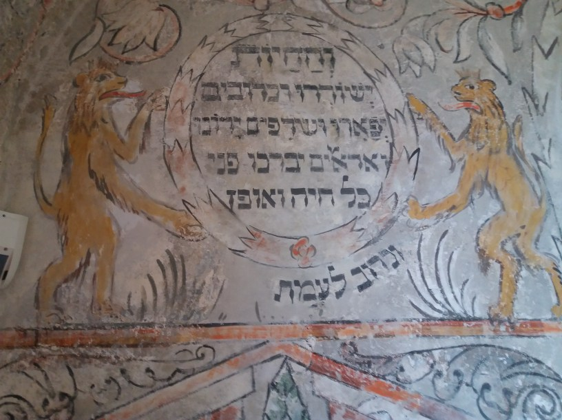 Beautifully renovated murals in the synagogue