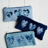 Shibori Trend - DIY Denim Heart Pencil Case