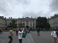 The main entrance to Trinity College from the inside of Trinity College