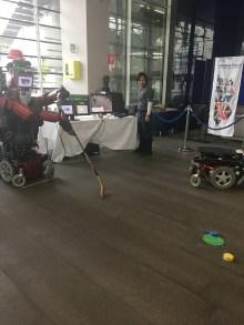 A robot playing Hockey