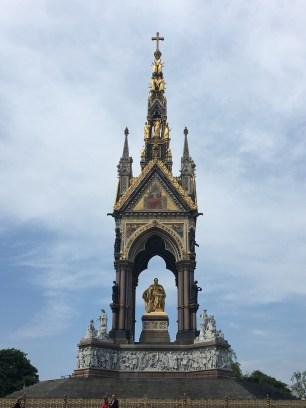 The big Prince Albert Memorial in Kensington Gardens, behind the Royal Albert Hall.