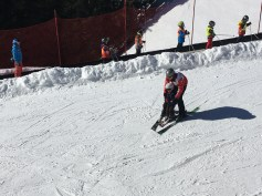 My host father takes L down the beginner slope