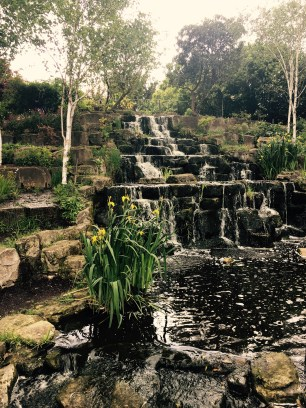 The Japanese Gardens in Regent's Park feature a beautiful waterfall