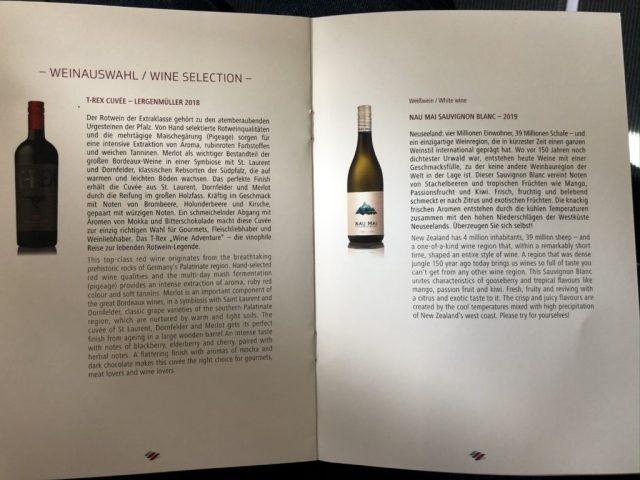 Weinauswahl in der Eurowings Business Class Langstrecke
