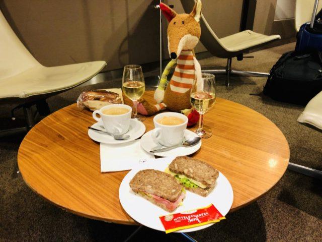 Das Speisenangebot in der Lufthansa Seantor Lounge