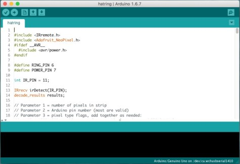 A sample view of the arduino integrated development environment software