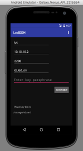 A view of the main screen of the LED SSH app.