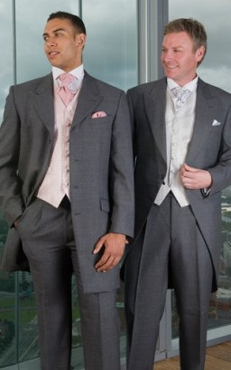 Left: Medium Grey Prince Edward, Medium Grey Trousers, Mere Pink Waistcoat, Light Rose Scrunch Tie and Handkerchief Right: Medium Grey Tailcoat, Medium Grey Trousers, Mere Silver Waistcoat, Silver Scrunch Tie and Handkerchief
