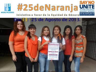 Estudiantes #5AMVT del CBTIS No. 188 apoyando #25deNaranja.