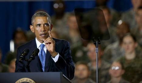 President Obama addresses servicemembers at MacDill Air Force Base. (Joe Raedle/Getty Images)