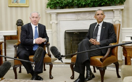 President Obama meets with Prime Minister Benjamin Netanyahu at the White House, Oct 1st, 2014. (Rex Features via AP Images)