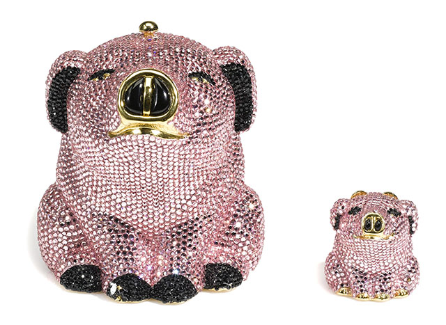 Judith Leiber Pink Pig Minaudiere and Pillbox