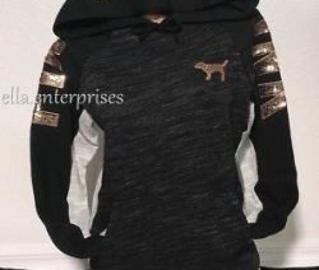 Victorias Secret Pink Black Marl Gray Rose Gold Bling Perfect Pullover Hoodie M