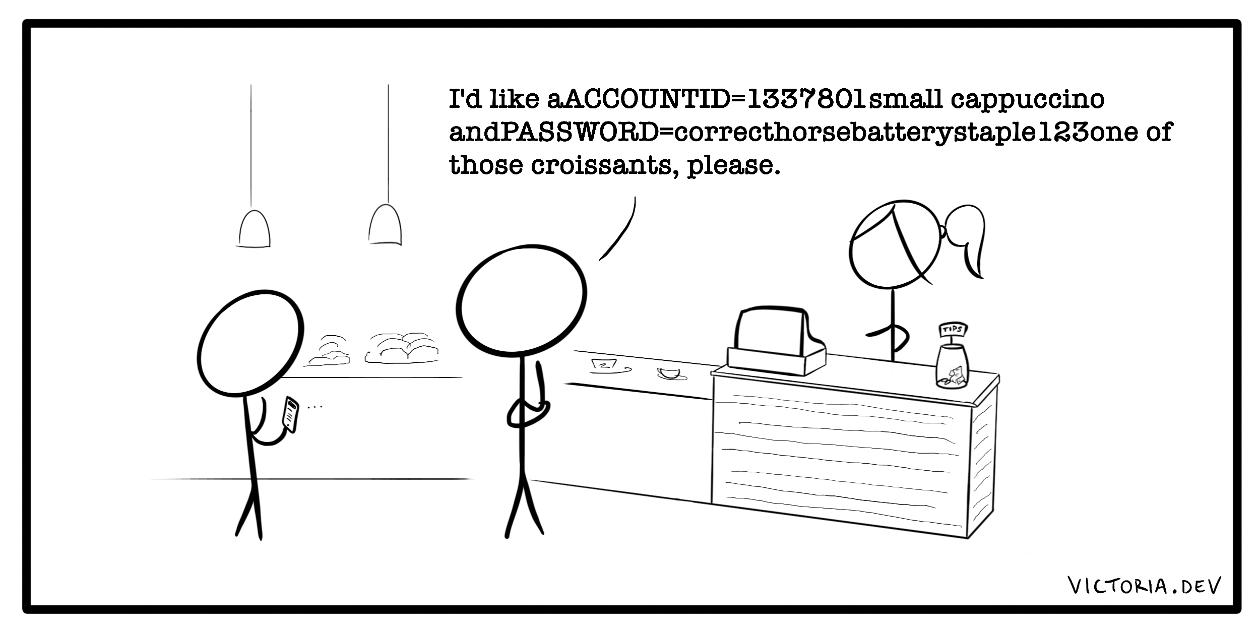 A cartoon of shouting out your bank details at a coffeeshop.