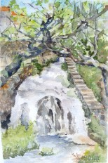Waterfall in Trillo, Spain April 25th 2015 - Watercolor on Arches 300 GMS - 11 in x 5.5 in - 28 cm x 14