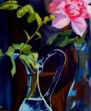 Pink Rose in Blue Vase