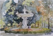 El Buen Retiro in the Spring Madrid, Spain 2014 - Watercolor on Arches 300 GSM - 5.5 in x 7.5 in - 14 cm x 19 cm - Reserved