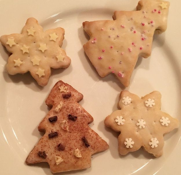 Christmas tree and snowflake shaped banana shortbread biscuits