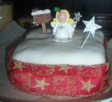 Angel topped Christmas Cake