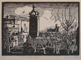 La Certosa woodcut by Margaret J. Patterson