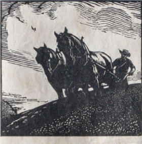 Plowing woodcut by Robert B. Robinson
