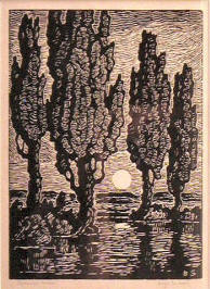 Poplars at Moonrise by Birger Sandzen