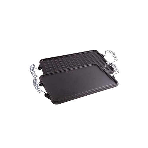"Cast Iron Reversible Griddle with Removable Handles 13""x 8.3"""