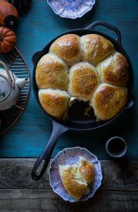 Cast Iron Skillet Bread - Pumpkin Custard Baked Buns