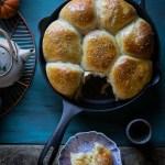 Cast Iron Skillet Bread - Pumpkin Custard Baked Buns